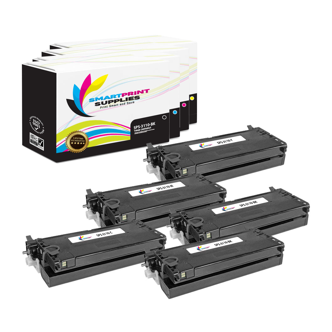 5 Pack Dell 3110CN 4 Colors Replacement Toner Cartridge By Smart Print Supplies