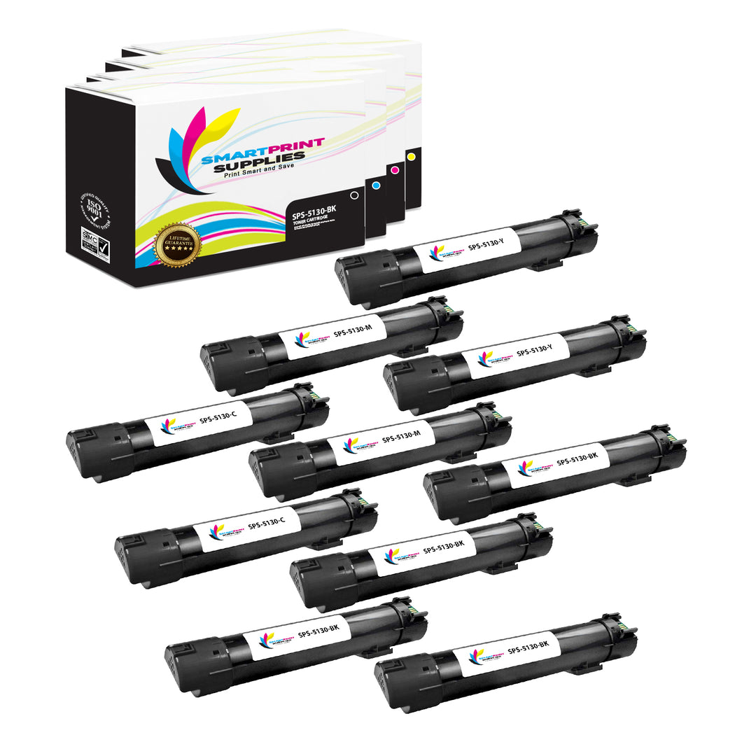 10 Pack Dell 5130CDN 4 Colors Replacement Toner Cartridge By Smart Print Supplies