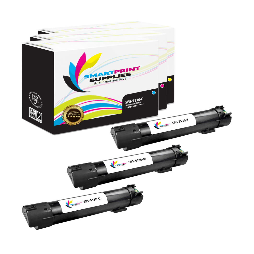 3 Pack Dell 5130CDN 3 Colors Replacement Toner Cartridge By Smart Print Supplies