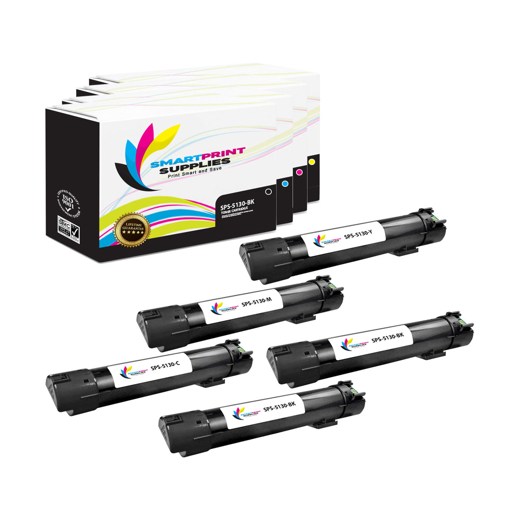 5 Pack Dell 5130CDN 4 Colors Replacement Toner Cartridge By Smart Print Supplies