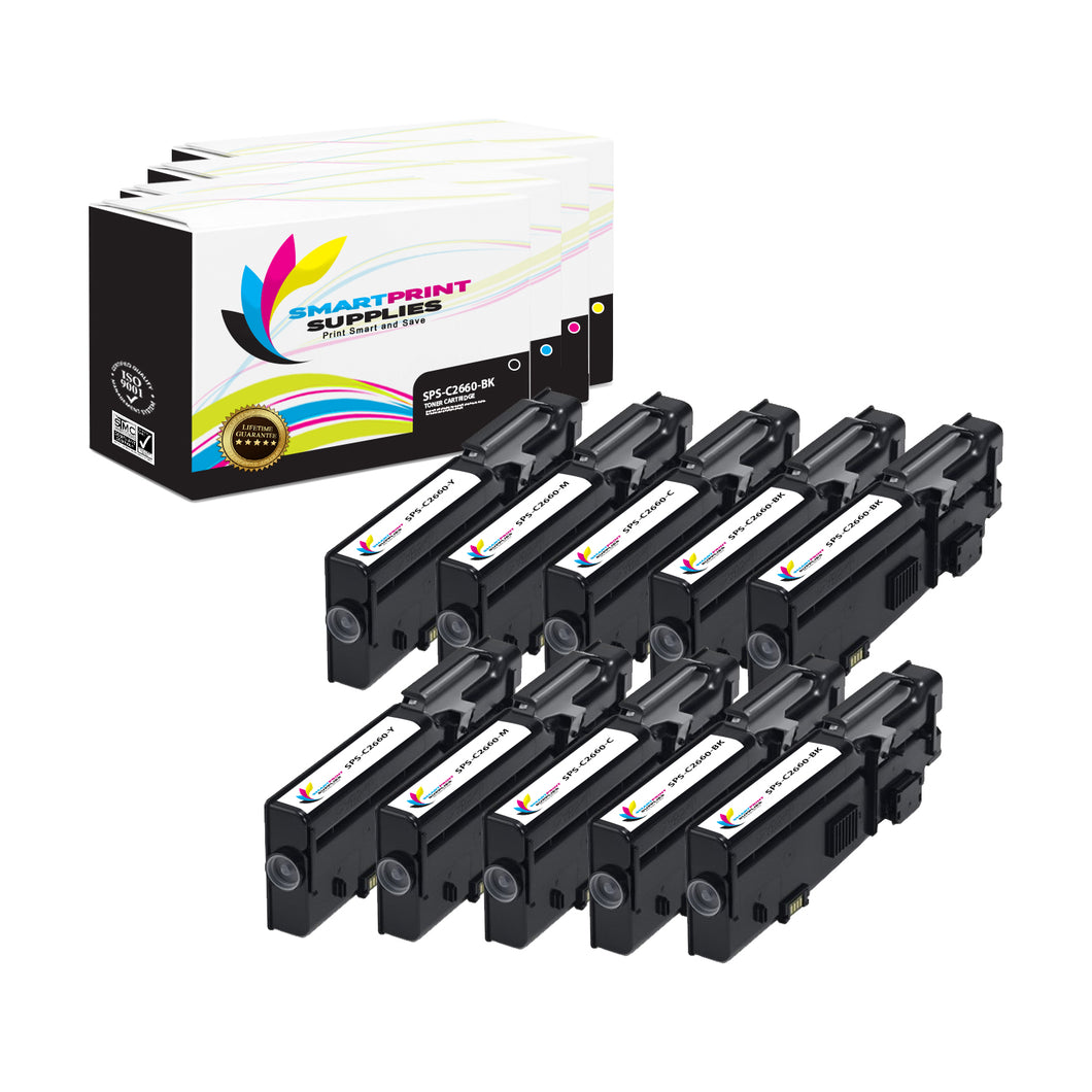 10 Pack Dell C2660 4 Colors Replacement Toner Cartridge By Smart Print Supplies