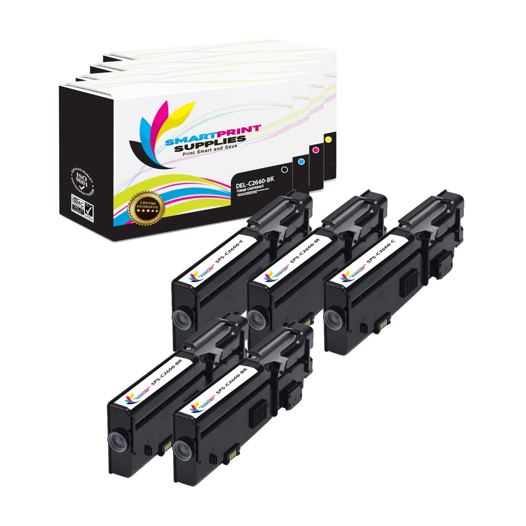 5 Pack Dell C2660 4 Colors Replacement Toner Cartridge By Smart Print Supplies