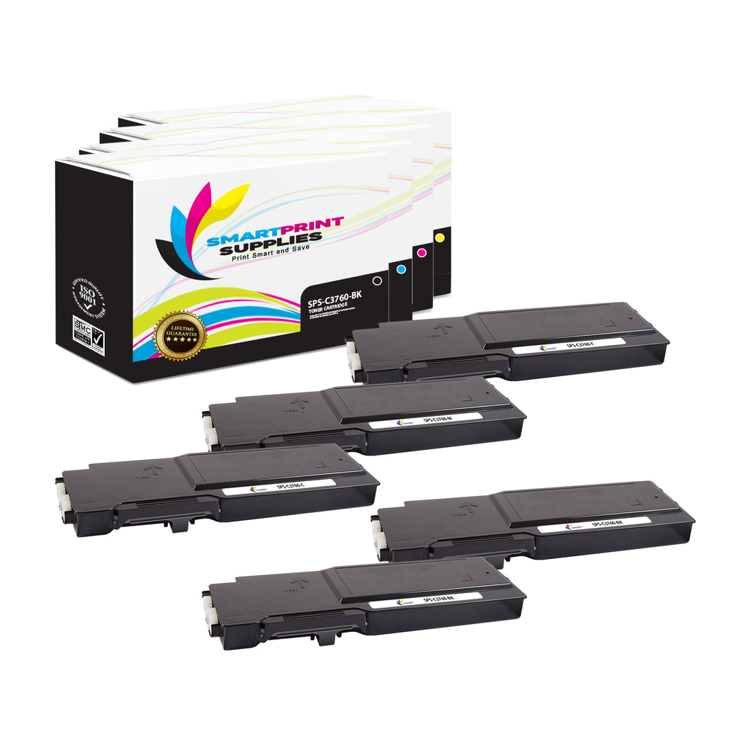 5 Pack Dell C3760 4 Colors Replacement Toner Cartridge By Smart Print Supplies
