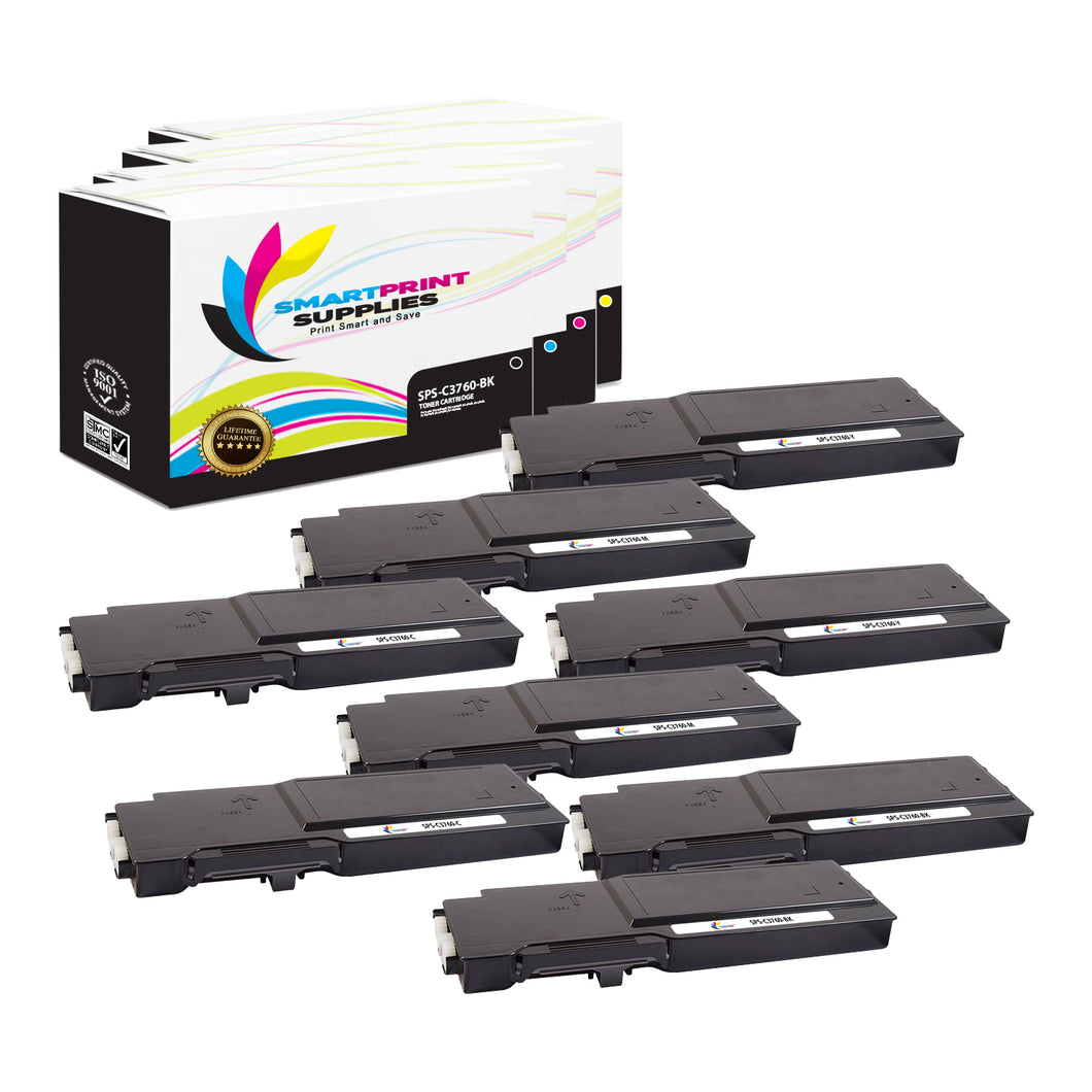 8 Pack Dell C3760 4 Colors Replacement Toner Cartridge By Smart Print Supplies