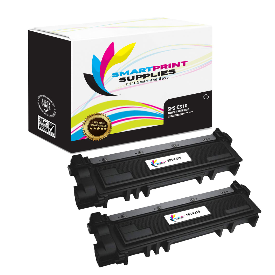 2 Pack Dell E310 Black Replacement Toner Cartridge By Smart Print Supplies