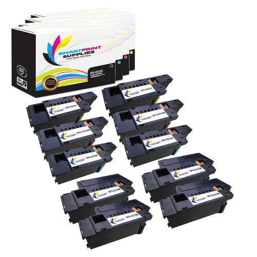 10 Pack Dell E525 Replacement 4 Colors Toner Cartridge by Smart Print Supplies /2,000 per black cartridge, and 1,400 per color cartridge Pages