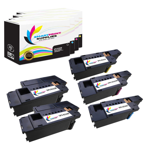 5 Pack Dell E525W 4 Colors Replacement Toner Cartridge By Smart Print Supplies