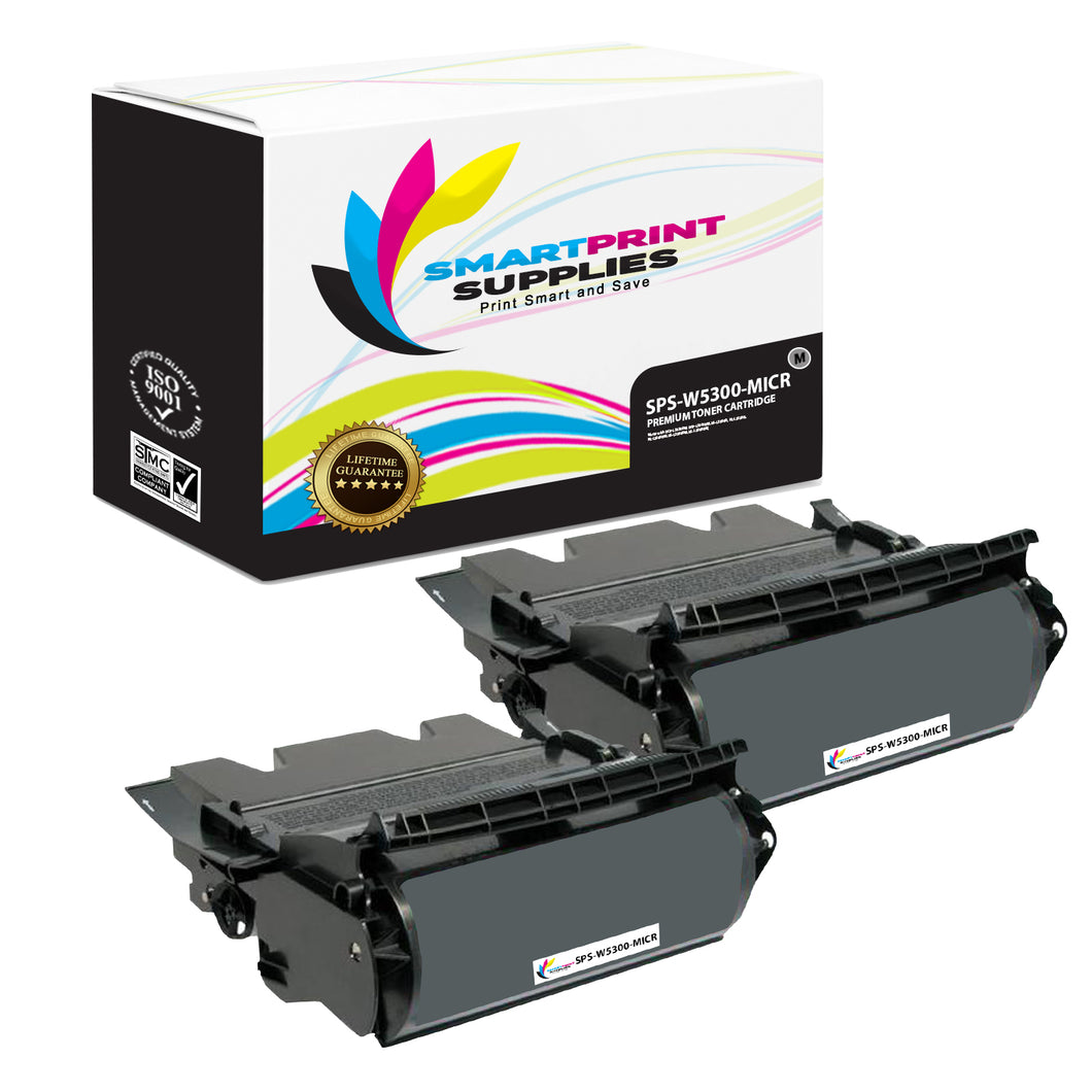 2 Pack Dell W5300 MICR Replacement Black Toner Cartridge by Smart Print Supplies /27000 Pages