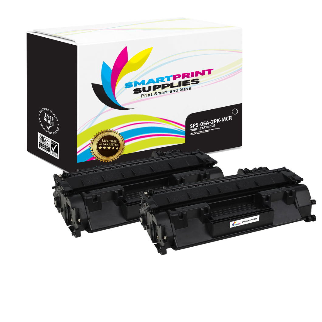 2 Pack HP 05A  Replacement MICR Toner Cartridge by Smart Print Supplies