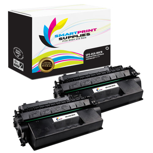 2 Pack HP 05X CE505X Replacement Black High Yield MICR Toner Cartridge by Smart Print Supplies
