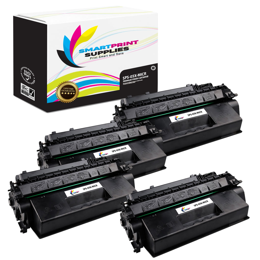 4 Pack HP 05X CE505X Replacement Black High Yield MICR Toner Cartridge by Smart Print Supplies