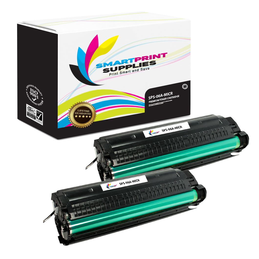 2 Pack HP 06A C3906A Replacement Black MICR Toner Cartridge by Smart Print Supplies