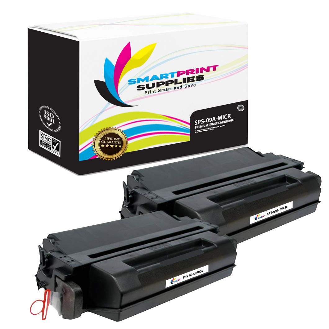 2 Pack HP 09A C3909A Replacement Black MICR Toner Cartridge by Smart Print Supplies