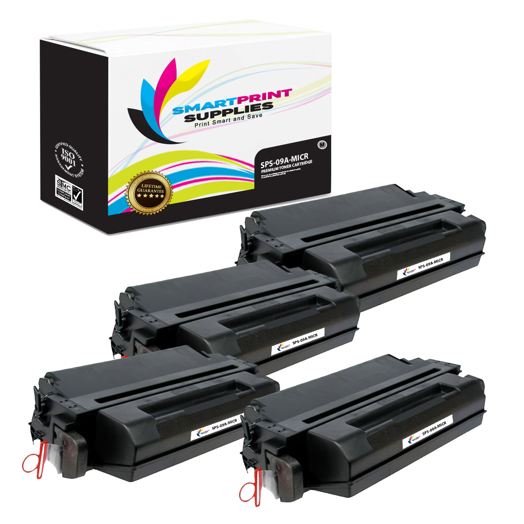 4 Pack HP 09A C3909A Replacement Black MICR Toner Cartridge by Smart Print Supplies