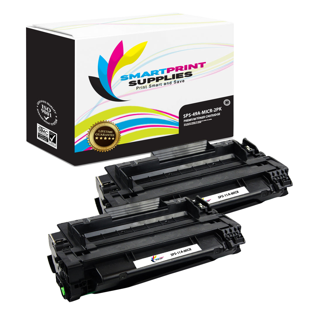 2 Pack HP 11A Q6511A Replacement Black MICR Toner Cartridge by Smart Print Supplies