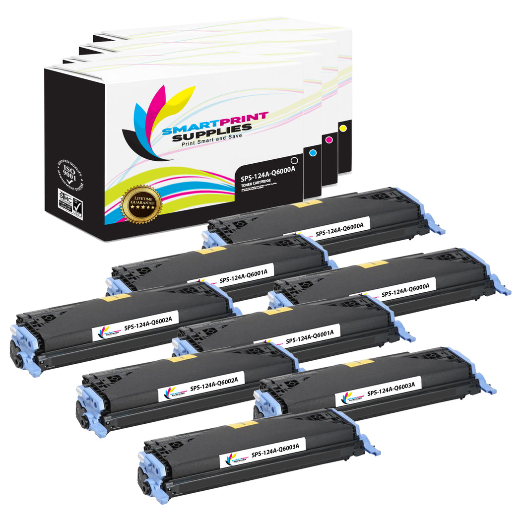 8 Pack HP 124A 4 Colors Toner Cartridge Replacement By Smart Print Supplies
