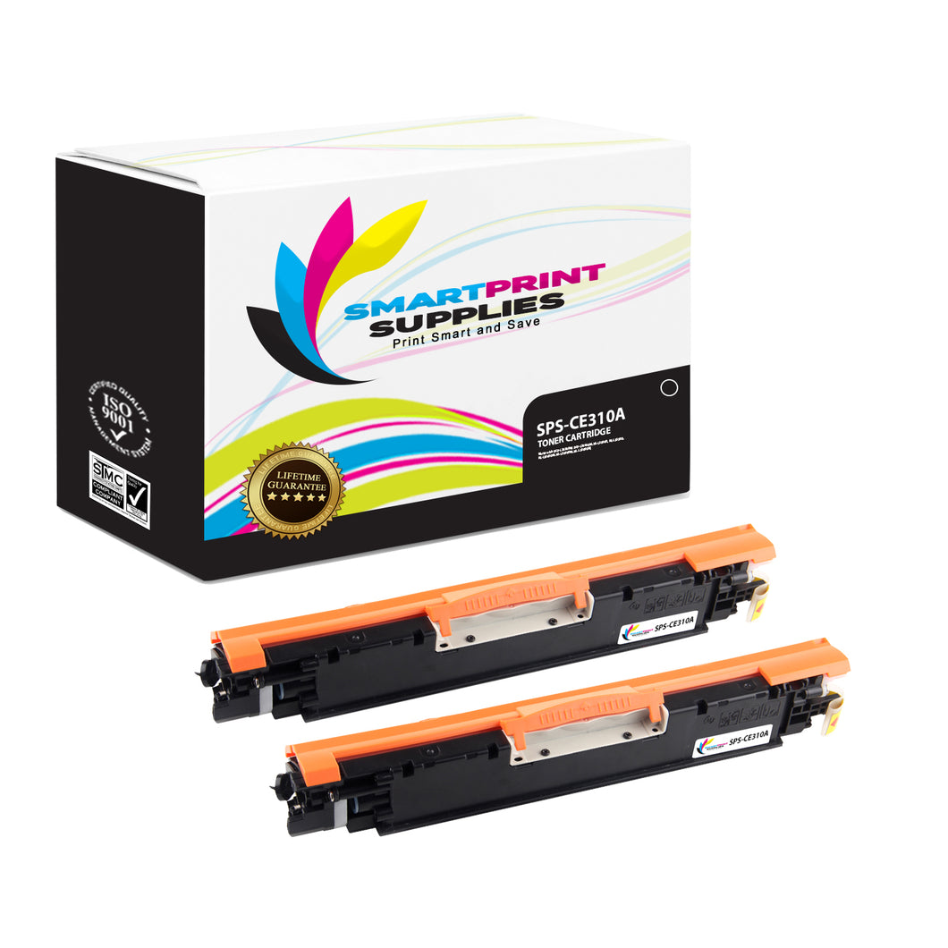 Smart Print Supplies CE310A 126A Replacement Black Toner Cartridge Two Pack