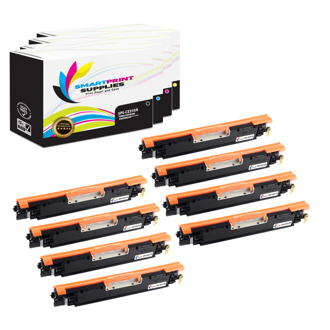 8 Pack HP 126A 4 Colors Toner Cartridge Replacement By Smart Print Supplies