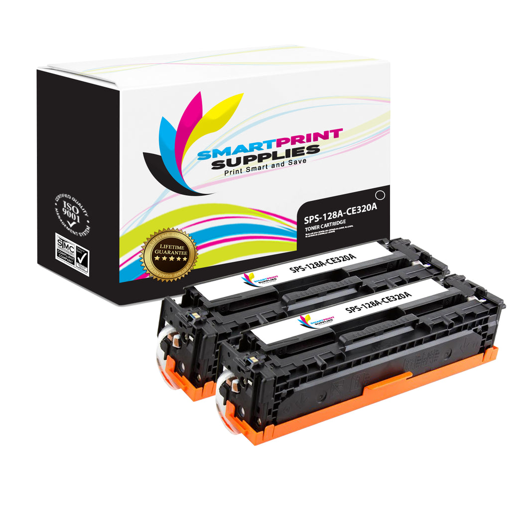 2 Pack HP 128A Black Toner Cartridge Replacement By Smart Print Supplies