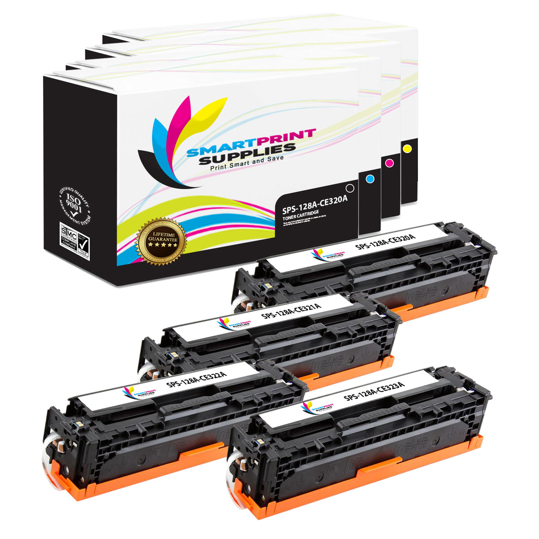 4 Pack HP 128A 4 Colors Toner Cartridge Replacement By Smart Print Supplies