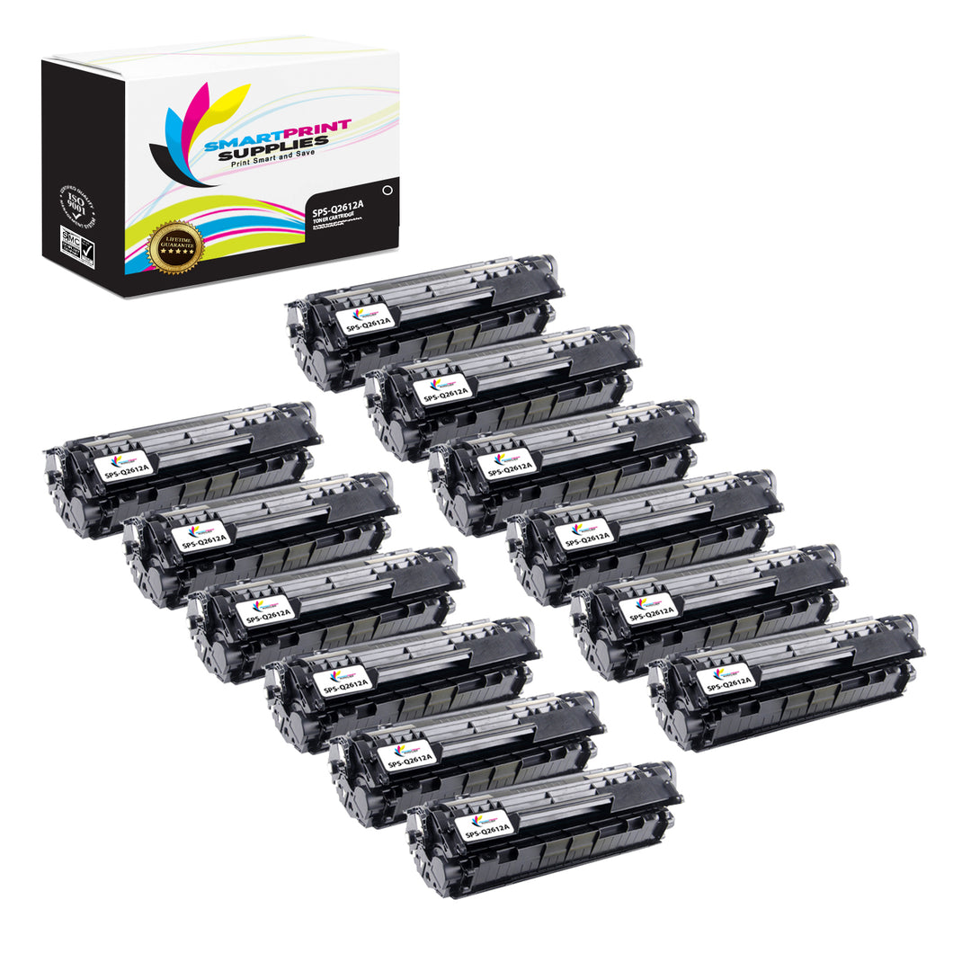 12 Pack HP 12A Black Toner Cartridge Replacement By Smart Print Supplies