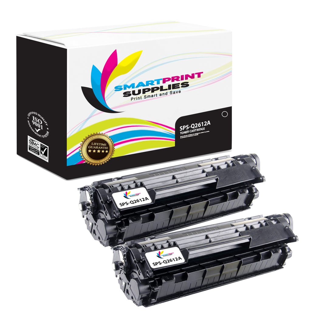 2 Pack HP 12A Black Toner Cartridge Replacement By Smart Print Supplies