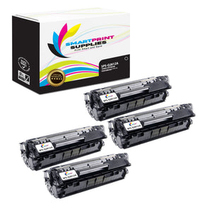 4 Pack HP 12A Q2612A Replacement Black Toner Cartridge by Smart Print Supplies