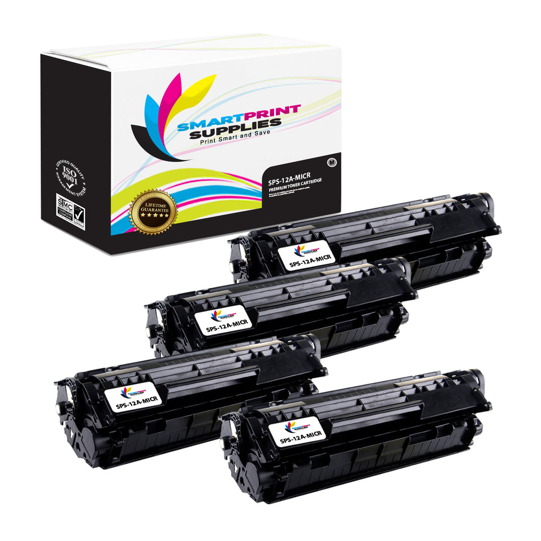 4 Pack HP 12A Q2612A MICR Replacement Black Toner Cartridge by Smart Print Supplies /2000 Pages