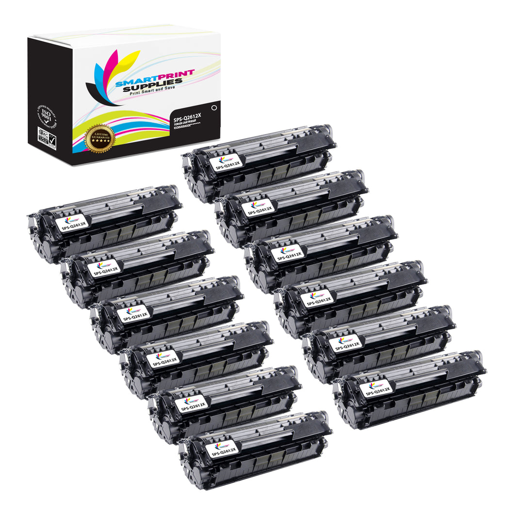 12 Pack HP 12X Black Toner Cartridge Replacement By Smart Print Supplies