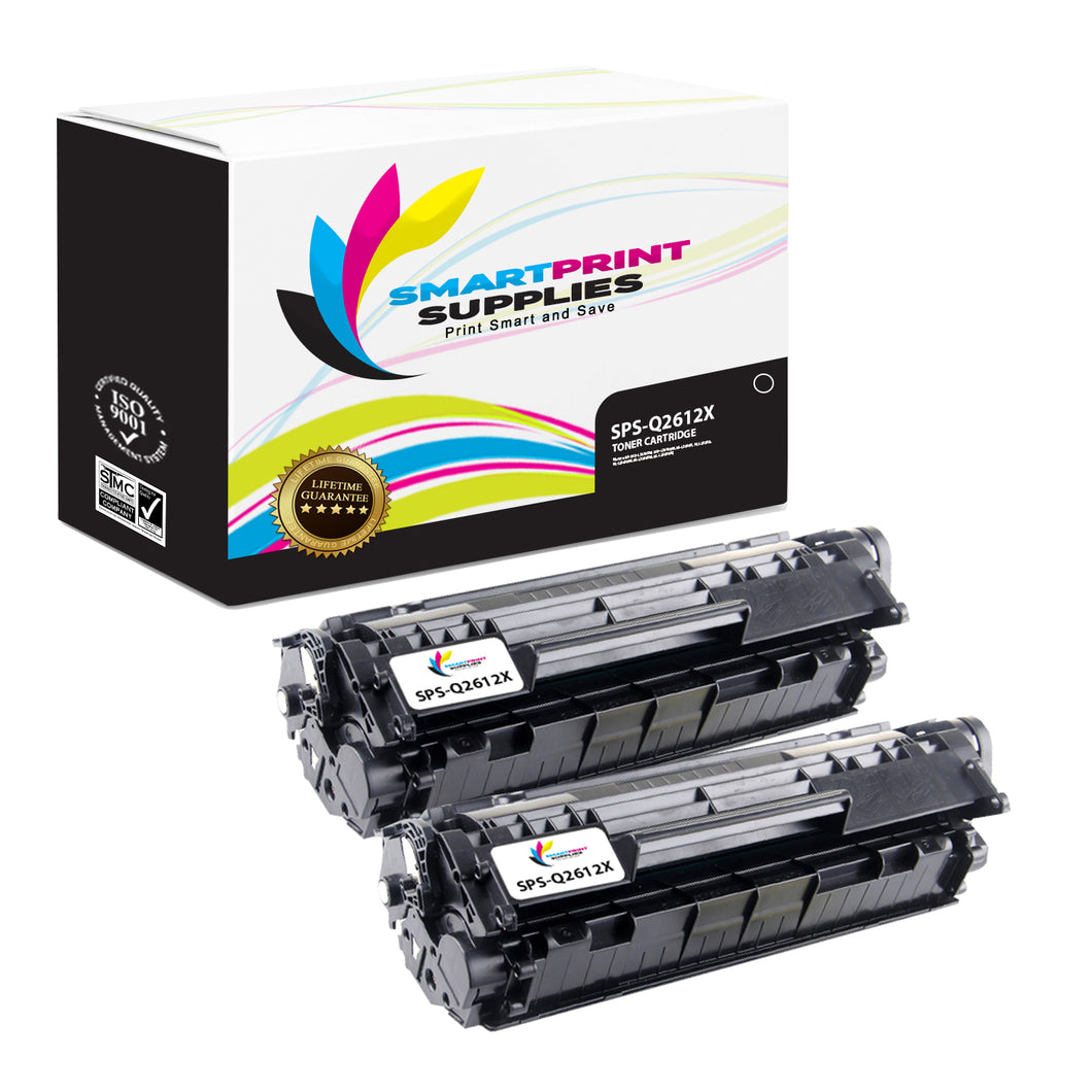 2 Pack HP 12X Black Toner Cartridge Replacement By Smart Print Supplies