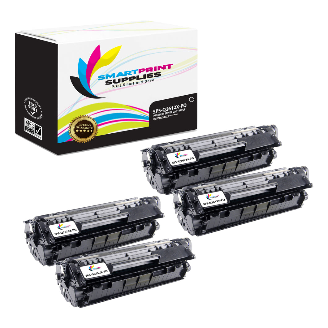 4 Pack HP 12X Q2612X Premium Replacement Black Toner Cartridge by Smart Print Supplies