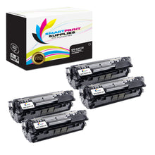 4 Pack HP 12X Q2612X Replacement Black Toner Cartridge by Smart Print Supplies
