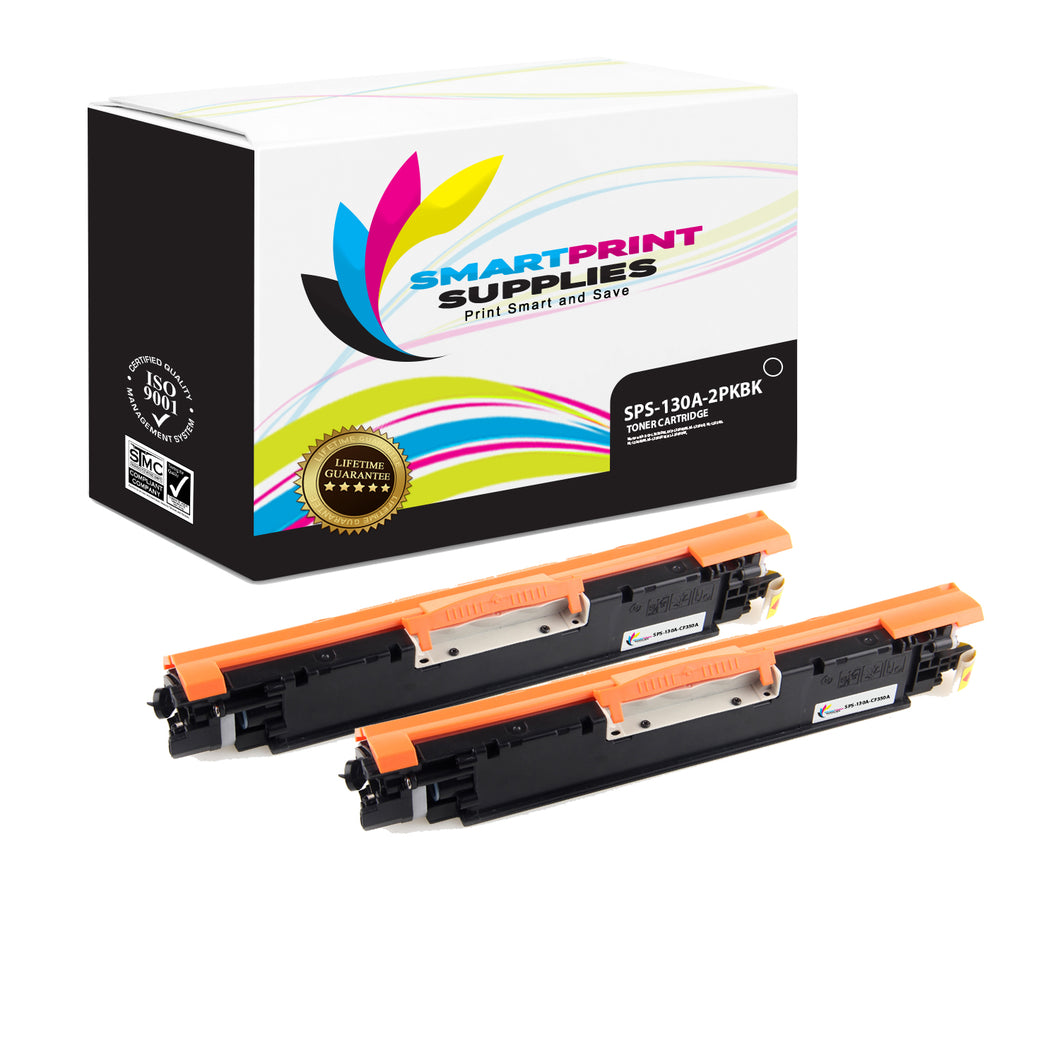 2 Pack HP 130A CF350A Replacement Black Toner Cartridge by Smart Print Supplies