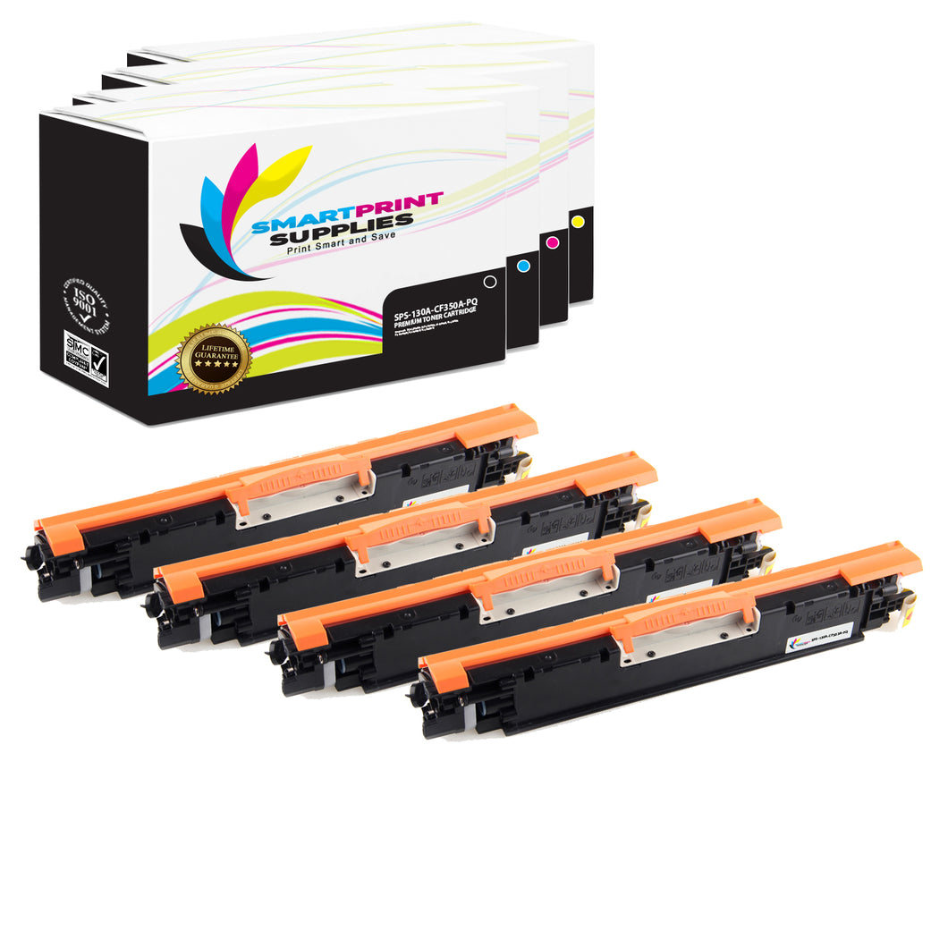 4 Pack HP 130A Premium Replacement (CMYK) Toner Cartridge by Smart Print Supplies