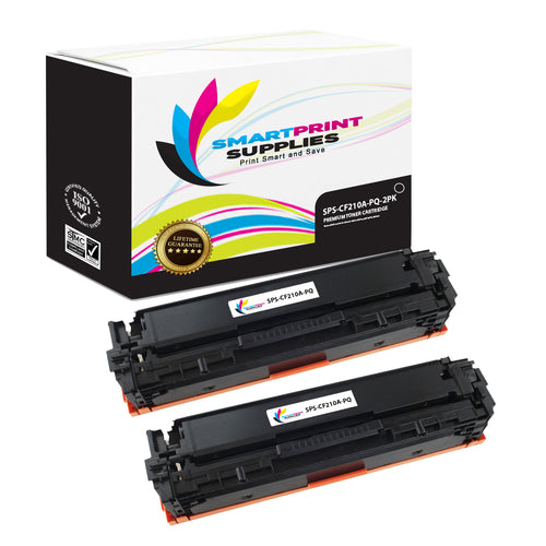 2 Pack HP 131A-131X CF210A Premium Replacement Black Toner Cartridge by Smart Print Supplies