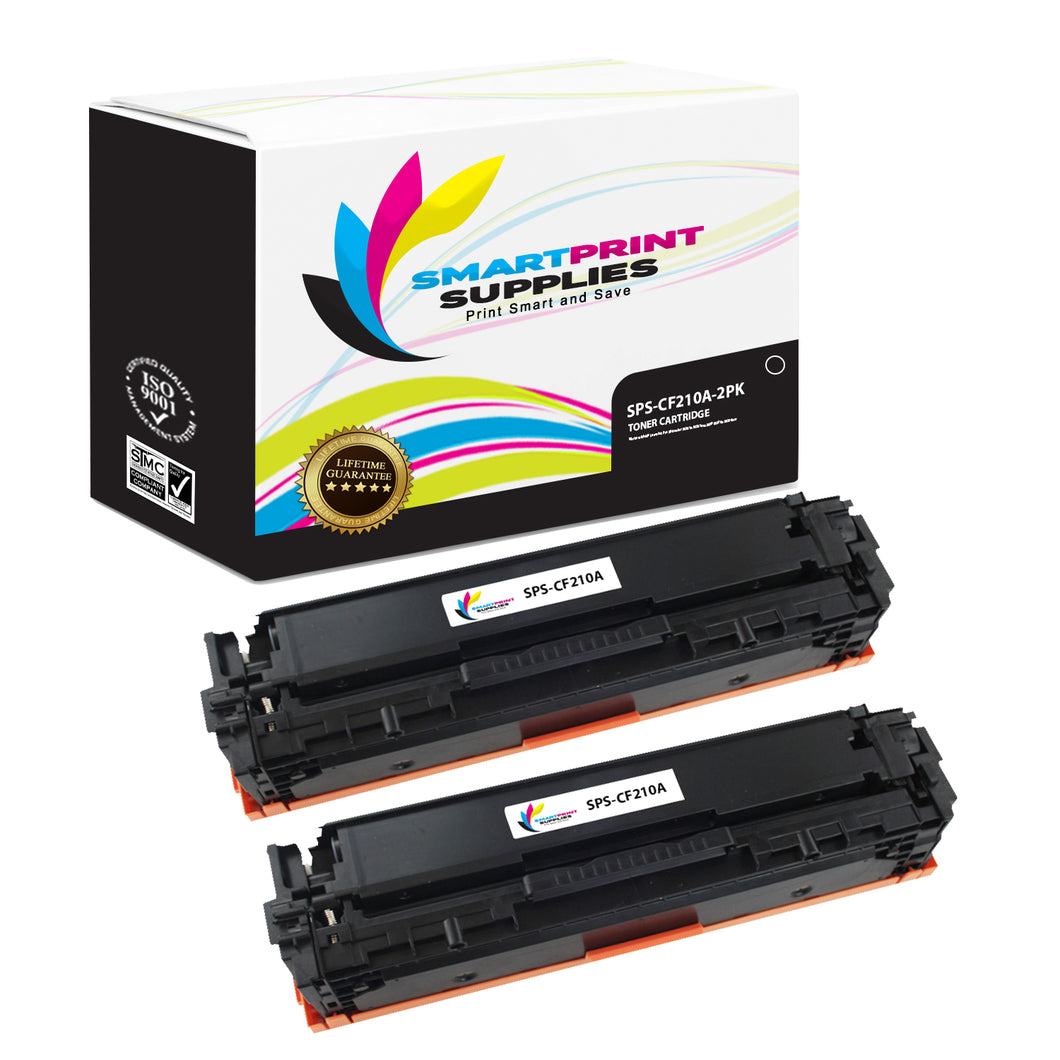 2 Pack HP 131A-131X CF210A Replacement Black Toner Cartridge by Smart Print Supplies