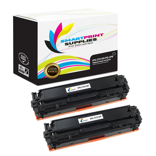 2 Pack HP 131A-131X CF210X Premium Replacement Black High Yield Toner Cartridge by Smart Print Supplies