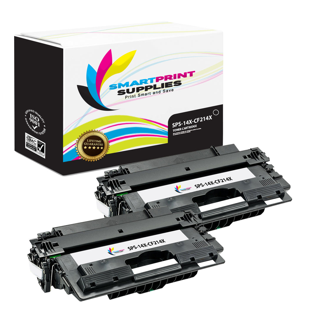 2 Pack HP 14X Black High Yield Toner Cartridge Replacement By Smart Print Supplies