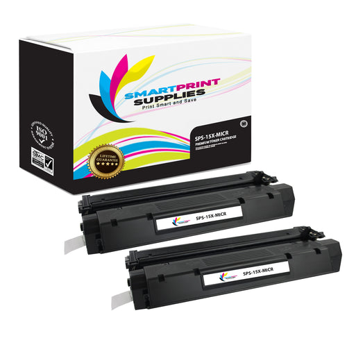 2 Pack HP 15X C7115X Replacement Black High Yield MICR Toner Cartridge by Smart Print Supplies