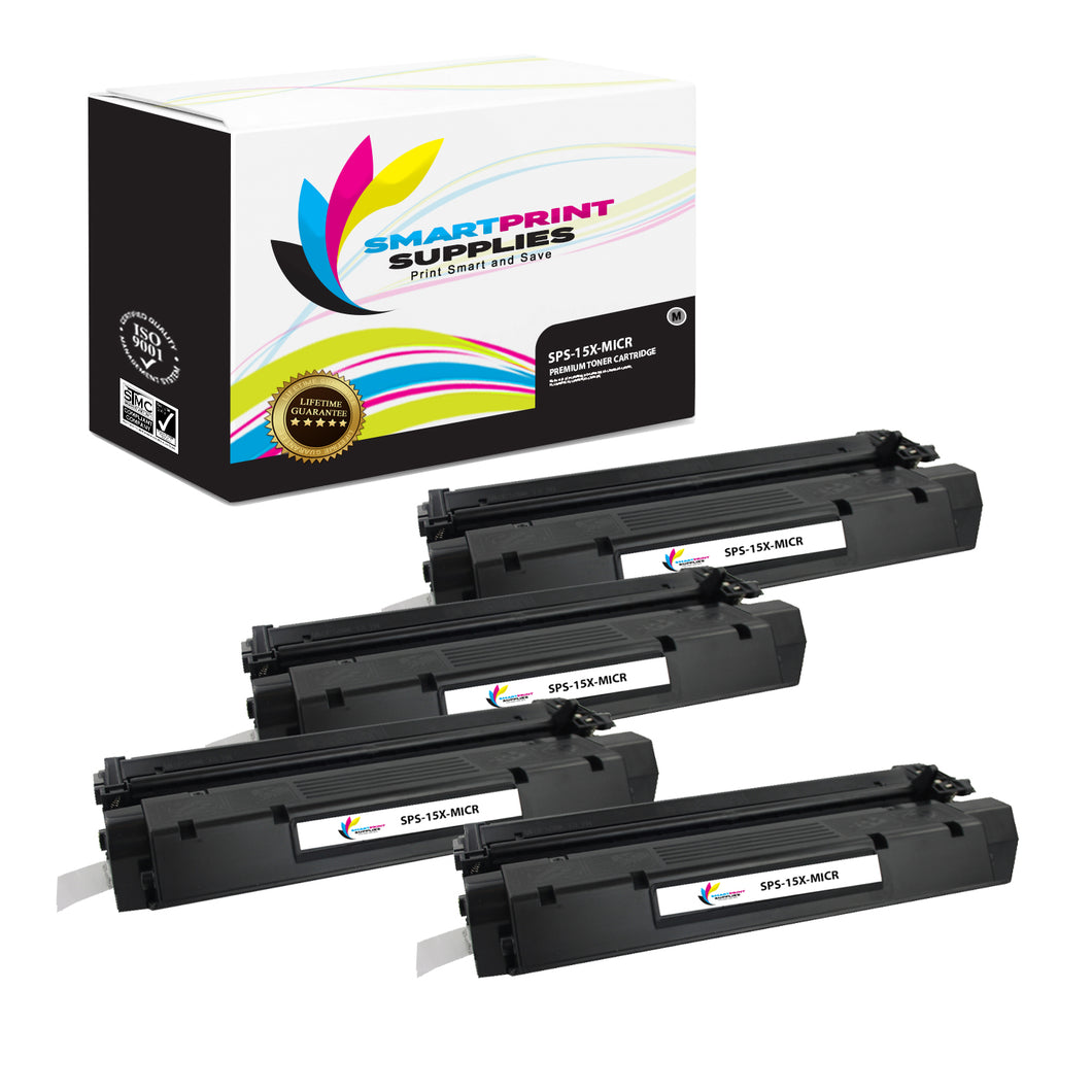 4 Pack HP 15X C7115X Replacement Black High Yield MICR Toner Cartridge by Smart Print Supplies