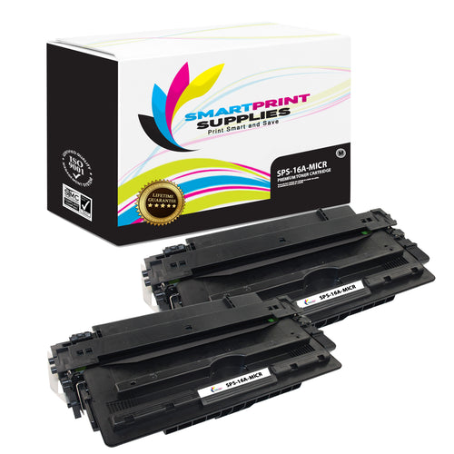2 Pack HP 16A Q7516A Replacement Black MICR Toner Cartridge by Smart Print Supplies