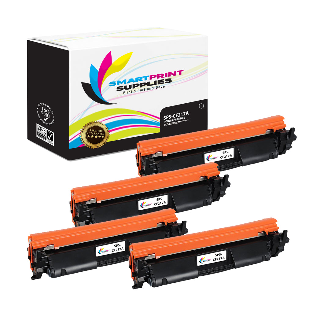4 Pack HP 17A Black Toner Cartridge Replacement By Smart Print Supplies