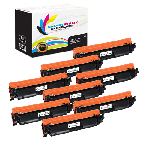 8 Pack HP 17A CF217A Replacement Black Toner Cartridge by Smart Print Supplies