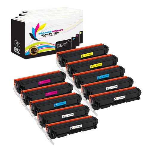 10 Pack HP 201A Replacement (CMYK) Toner Cartridge by Smart Print Supplies