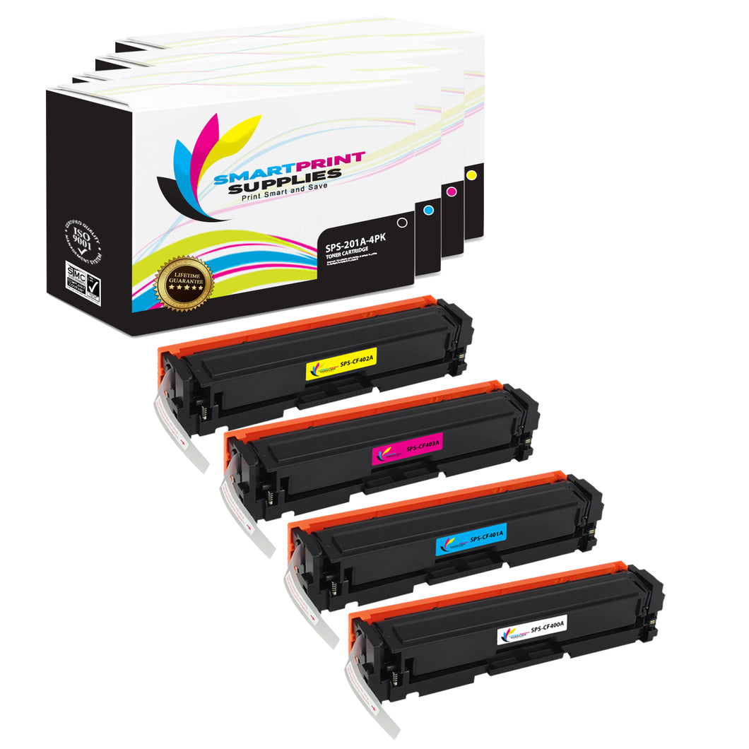 4 Pack HP 201A Replacement (CMYK) Toner Cartridge by Smart Print Supplies