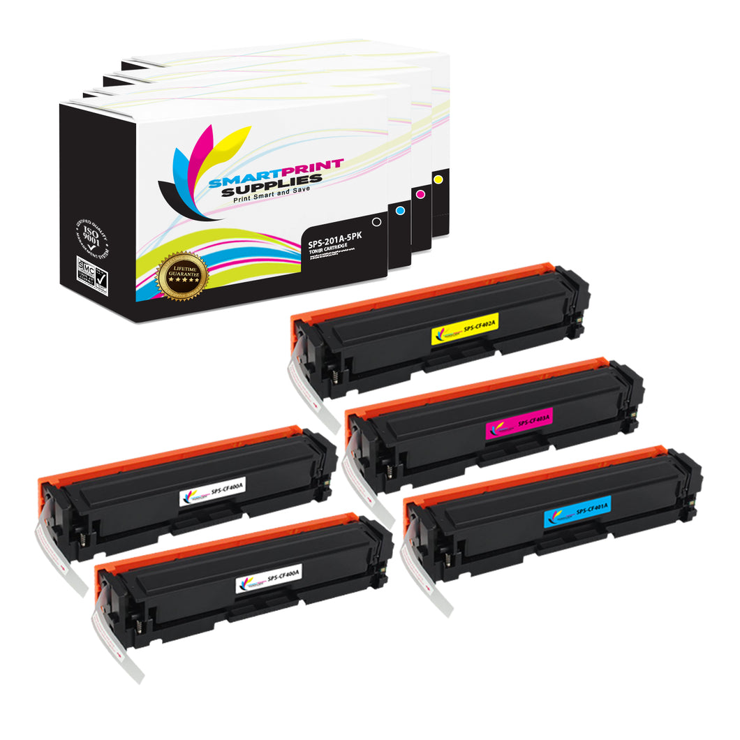 5 Pack HP 201A 4 Colors Toner Cartridge Replacement By Smart Print Supplies