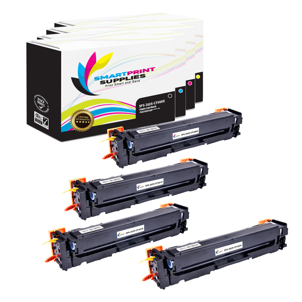 4 Pack HP 202X 4 Colors High Yield Toner Cartridge Replacement By Smart Print Supplies