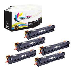 5 Pack HP 204A 4 Colors Toner Cartridge Replacement By Smart Print Supplies