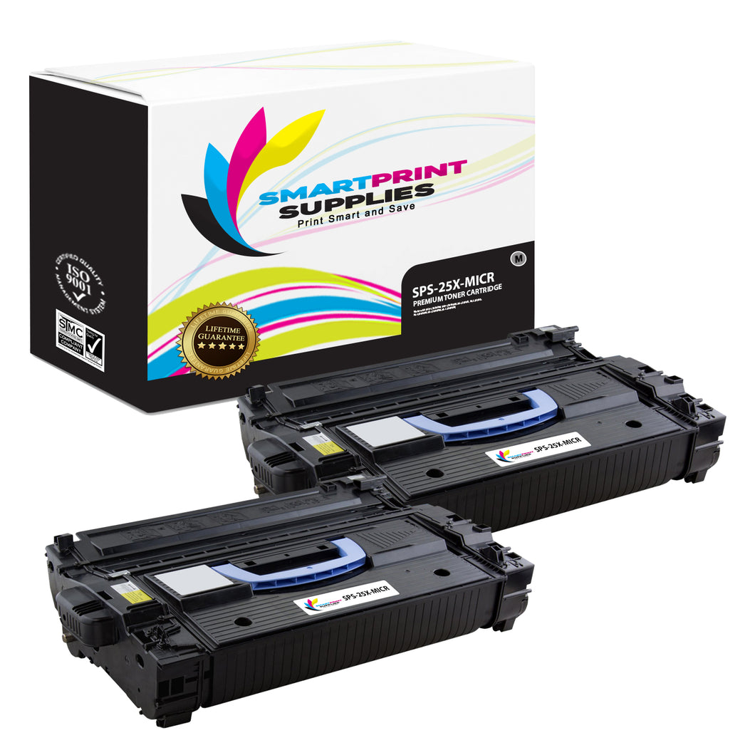 2 Pack HP 25X CF325X Replacement Black High Yield MICR Toner Cartridge by Smart Print Supplies
