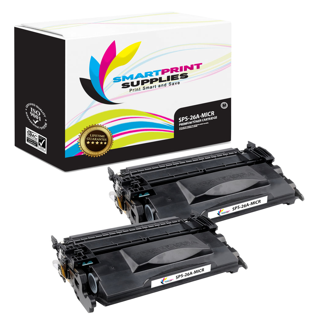 2 Pack HP 26A CF226A MICR Replacement Black Toner Cartridge by Smart Print Supplies /3100 Pages